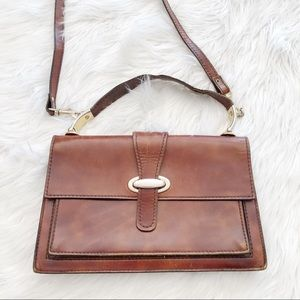 Vintage Leather Satchel Crossbody Brown Handbag